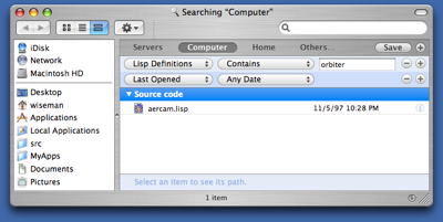 Searching Lisp contents in Finder